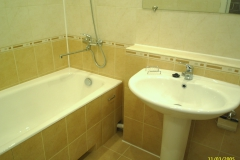Ванную комнату совместили с туалетом.