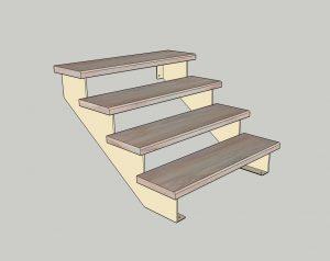 Каркас лестницы. № 2 Наклонный косоур плоского типа