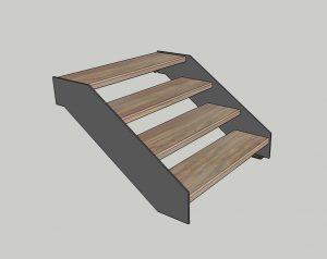 Каркас лестницы. № 8 Наклонный косоур с параллельными гранями